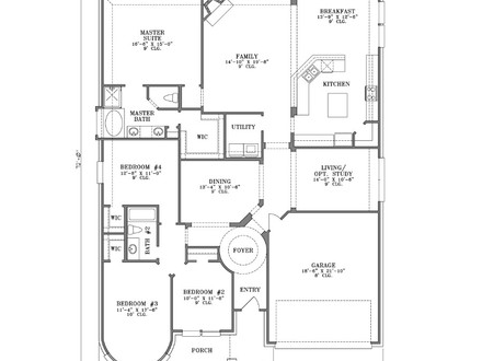 4 Bedroom One Story House Plans 5- Bedroom