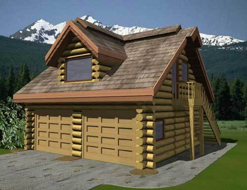 Log cabin in the woods log cabin floor plans with garage for Log cabin garage apartment kits