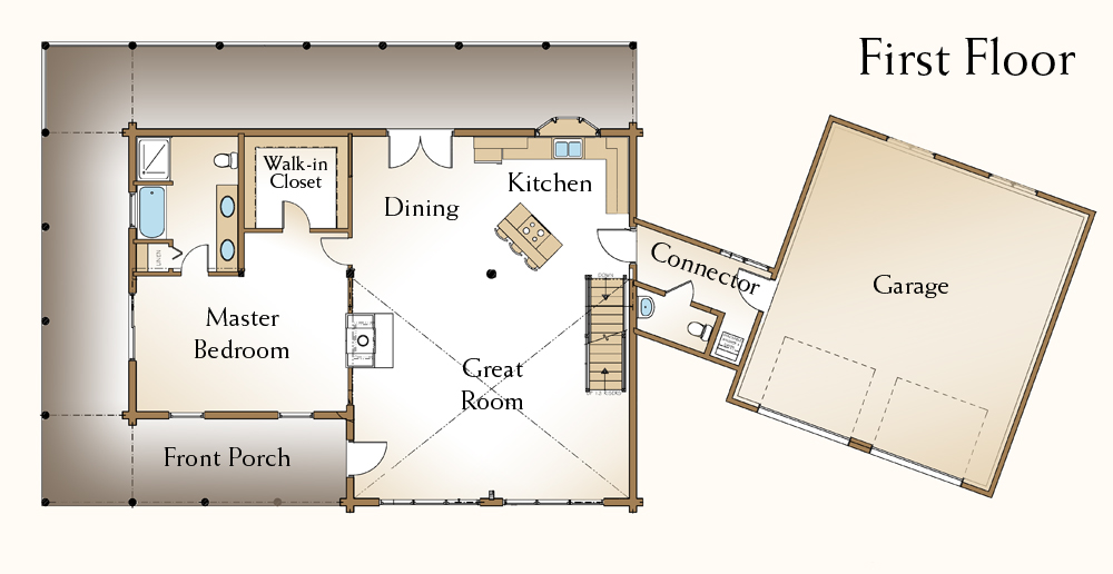 The sun shines bright on this new kentucky log home real for Real log homes floor plans