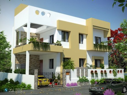 3-Story Residential Building Elevation Residential Building Elevation Design
