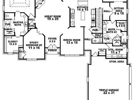 Bedroom with two master suites floor plans country style for Double master suite house plans