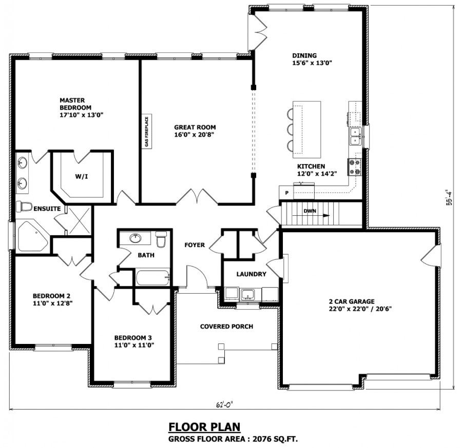 Bungalow floor plans canada 2 bedroom bungalow plans for Two bedroom bungalow plans
