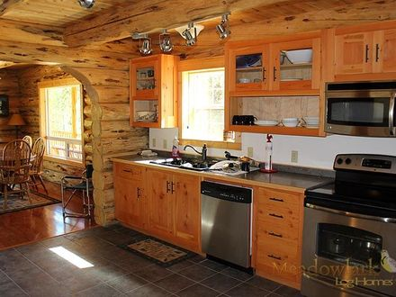 Pin by Log and Timber Homes Council on Log: Beautiful Kitchens Pint Stone and Log Homes