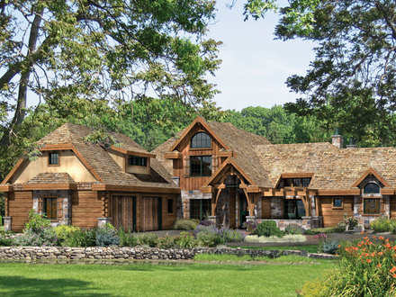 Tuscan Style French Country Style Log Home