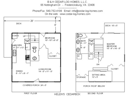 1-Story Log Home Plans Log Home Plans The Helen's Cedar Box, 1092 square feet, by B&H Cedar