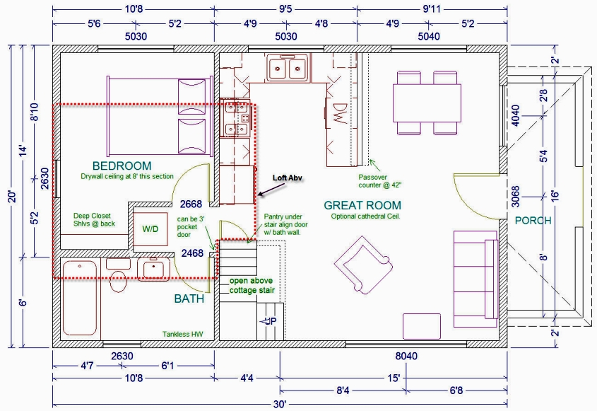 20 X 30 Cabin Floor Plans with Loft 20 X 30 Cabin Kits