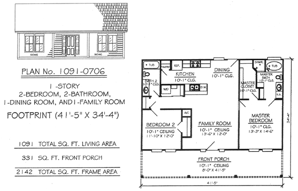 21 X 35 1 Story 2 Bedroom House Plans Numbers 1 -31, 1 1 2