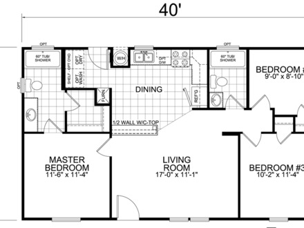 28 X 40 3 Bedroom House Plans 40 X 28 Poster Frame