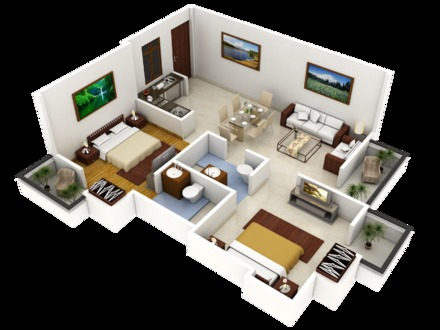 3D Open Floor Plans 3D House Plans Designs