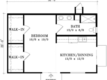 600 Square Feet House Plans 600 Sq FT Floor Plan