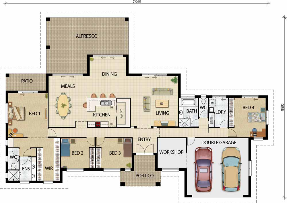 Acreage House Plan Architectural Drawing House Floor Plan