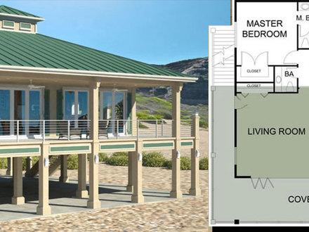 Small beach house plans small house plans under 1000 sq ft for Waterfront house plans on pilings