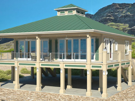 Beach houses beach home plans beach house plans for homes for Building a house on pilings