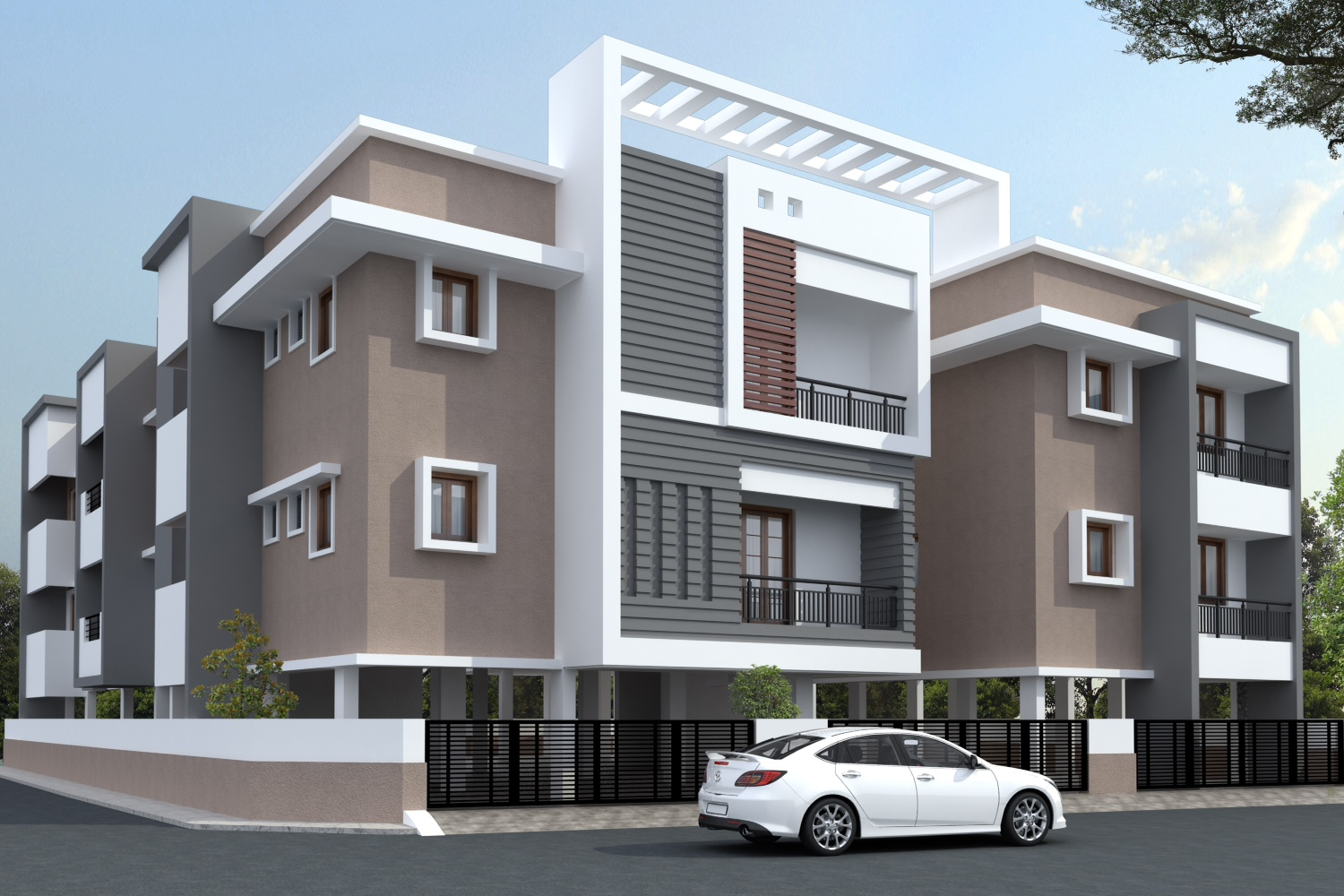 Front Elevation Designs Of Apartments : Elevation view apartment design bungalow
