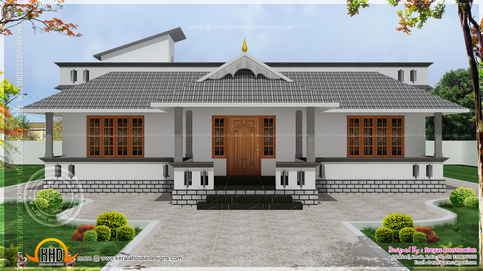 Kerala single floor house plans single floor house front for Single house front design