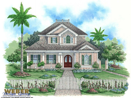 Federal style house cape cod style house with fence key for Key west style house plans