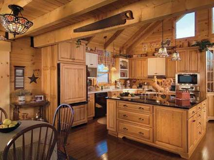 Log Home Kitchens with Islands Layouts Log Home Floor Plans