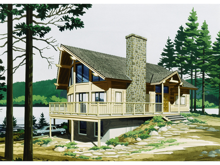 Aa frame houses large a frame house plans with porch lake for Narrow lakefront home plans