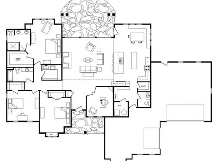 Open Floor Plans One Level Homes 3D Open Floor Plans
