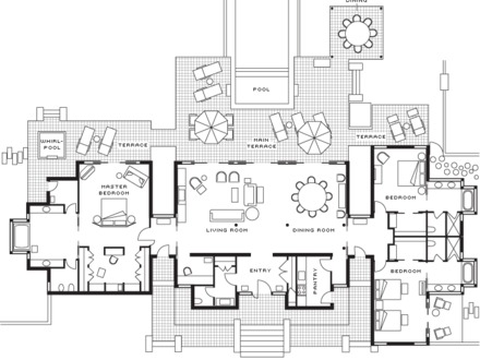Polynesian Three Bedroom Villa Floor Plan Polynesian Villas Map
