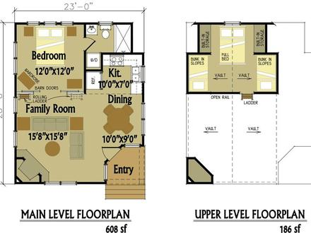 Small Cabin Floor Plans with Loft Inexpensive Small Cabin Plans