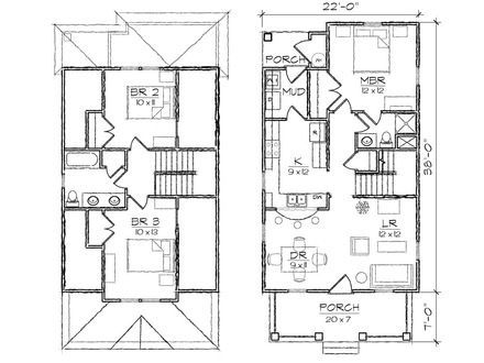 Narrow lot house plans with front garage narrow lot house for Bungalow floor plans for narrow lots