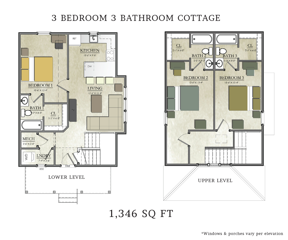 3 bedroom 2 bath cottage plans 3 bedroom 2 bath house for Floor plan cottage