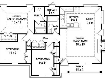 3 Bedroom 2 Bath House Plans 3 Bedroom 2 Bath House for Rent