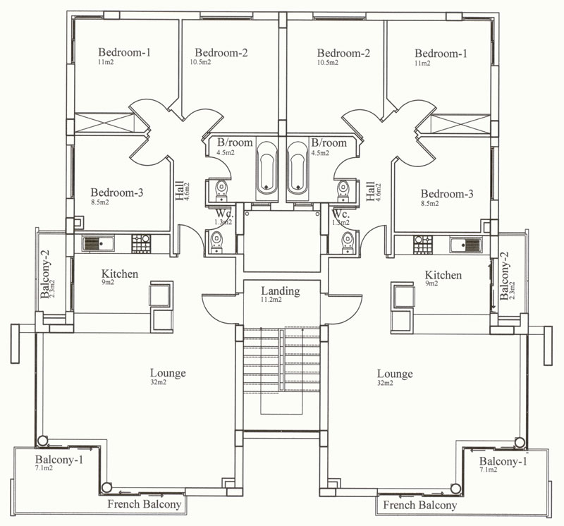 3 Bedroom House Floor Plans 3-Bedroom Section 8 Houses