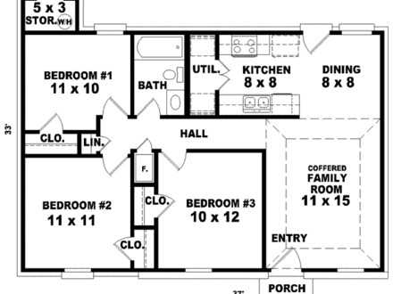 3 Bedroom Ranch Style House Plans No Garage Modern 3-Bedroom Ranch