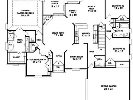 4 Bedroom 2 Story House Plans 2 Bedroom One Story Homes