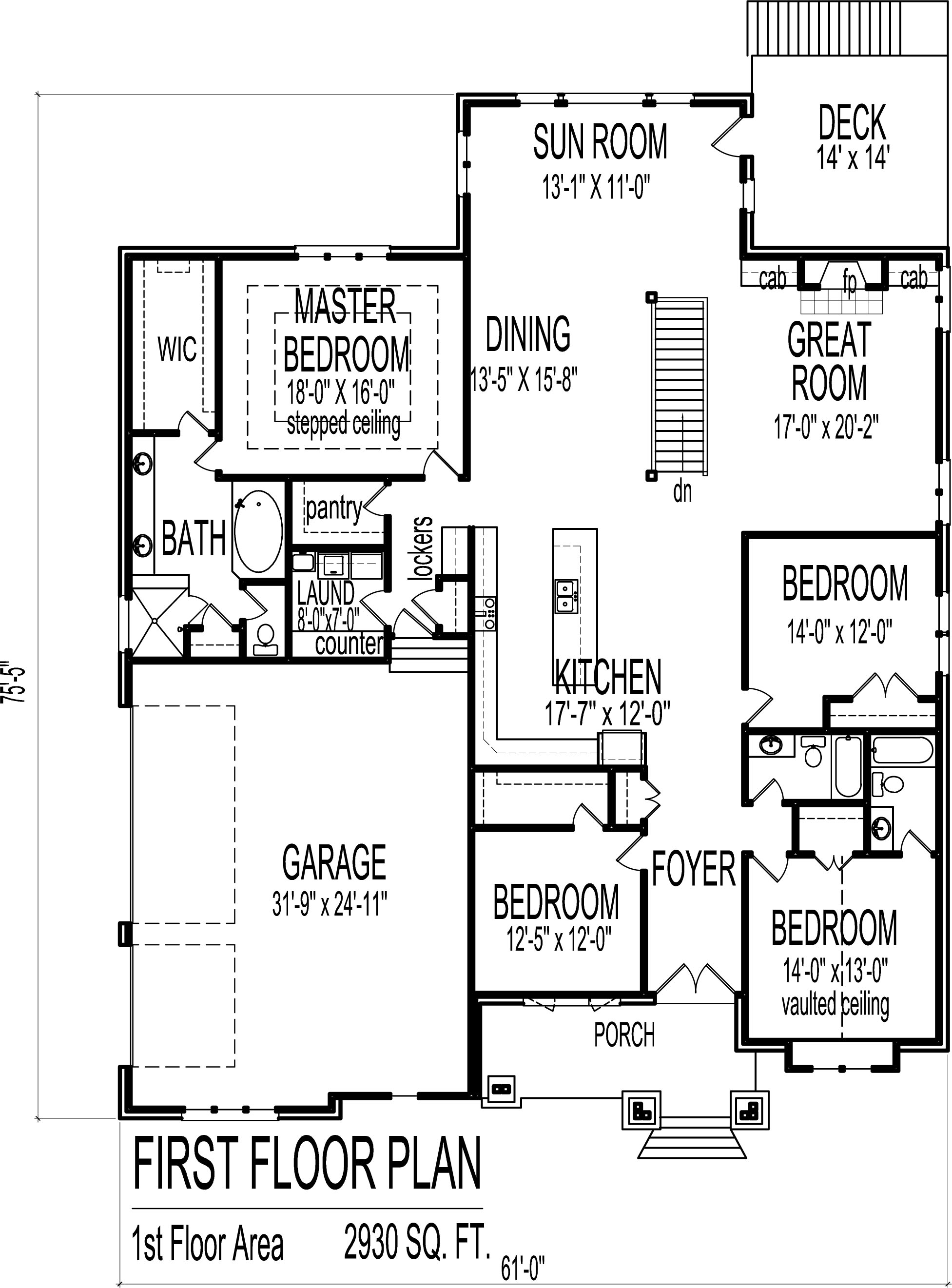 4 Bedroom Bungalow House Plans 4 Bedroom Ranch House 4