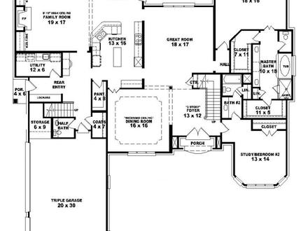 4 Bedroom One Story House Plans 4 Bedroom 2 Baths