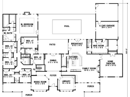 7 bedroom house plans one story mansion house plans 10 for Mansion house plans 8 bedrooms