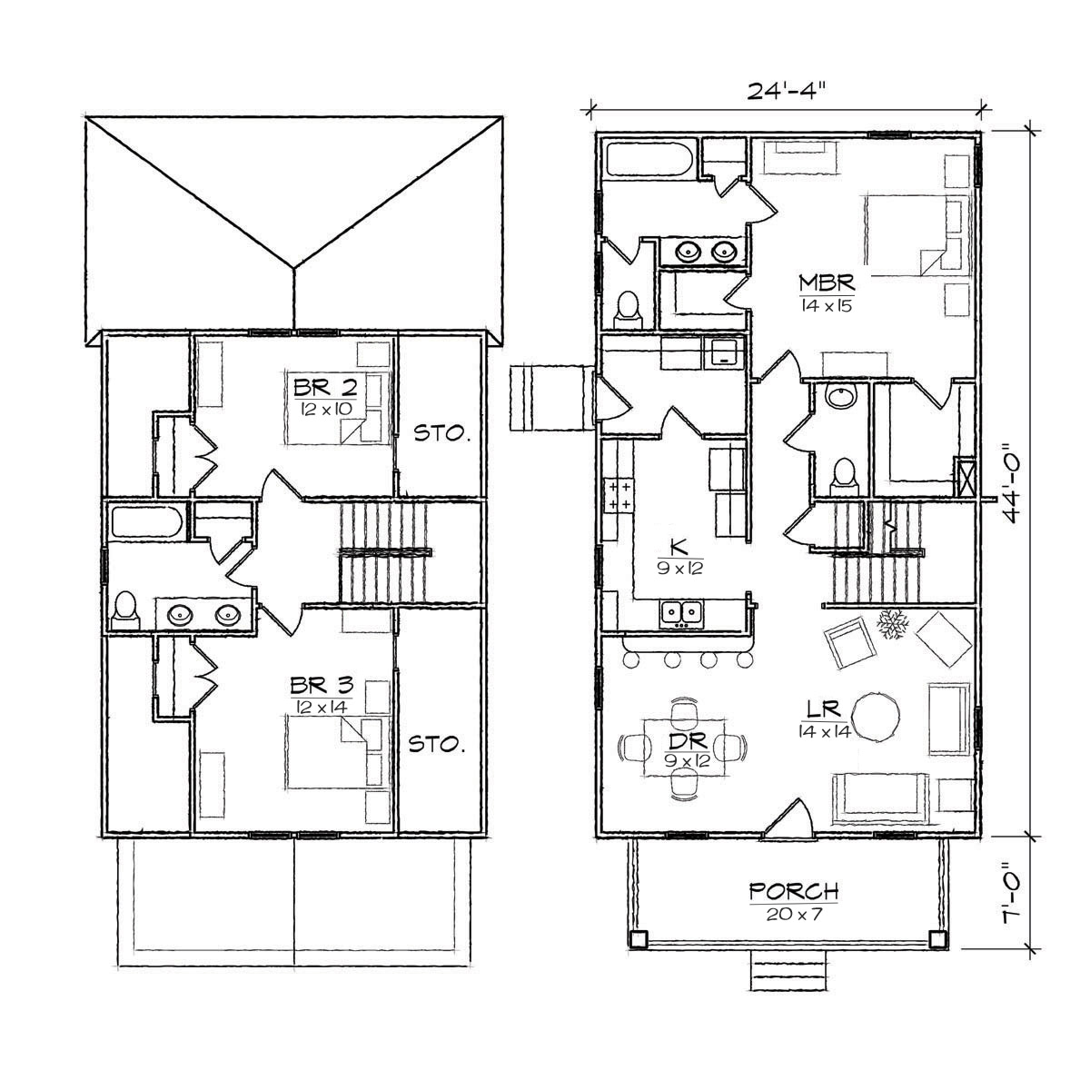 Bungalow floor plans with attached garage 2 bedroom for Two bedroom bungalow plans