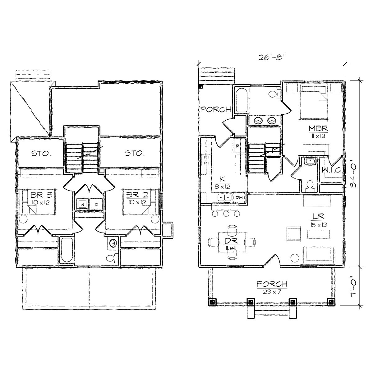 Bungalow house floor plans with dormers robinson bungalow for Dormer floor plans