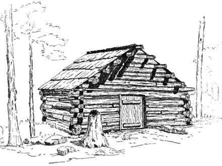 how to draw a log cabin in the woods
