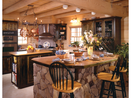 Country Log Home Kitchen Design Cabin Kitchen Red Cabinets