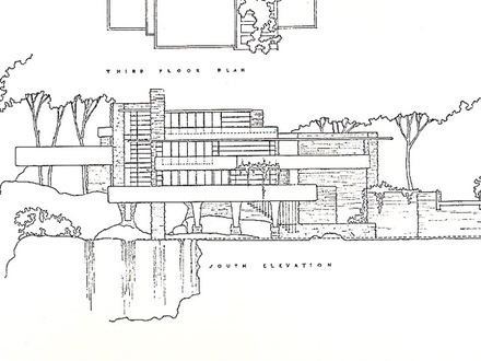 Falling Water Plans and Elevations Falling Water Blueprints