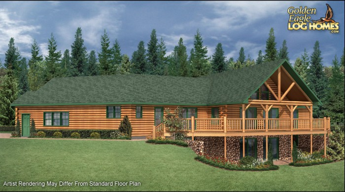 Guest house log style log ranch homecabin log cabin ranch for Log cabin ranch style homes