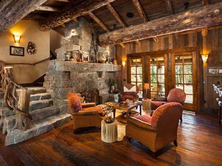 Log Cabin Home Living Room Lodge Living Room Ideas