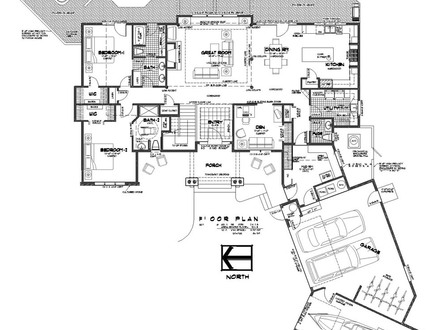 Bedroom with two master suites floor plans country style for Ranch style house plans with two master suites