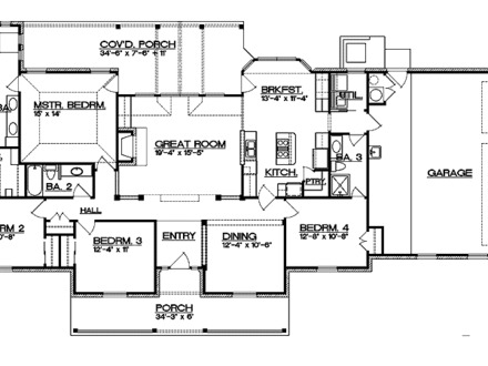 Ranch Floor Plans with Split Bedrooms Ranch Floor Plans with Sunken Living