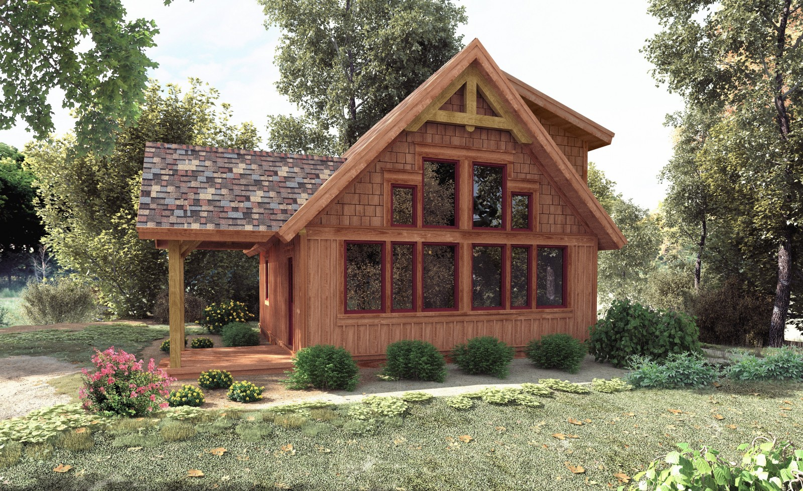 Small timber frame cabin plans small post and beam cabins for Post and beam cottage designs