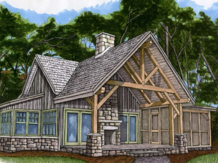 Small country house plans small guest house floor plans for Small timber frame cottage
