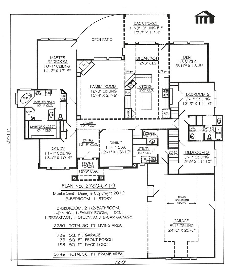 10 x12 remodle small bedroom 3 bedroom narrow lot house for Ten bedroom house plans