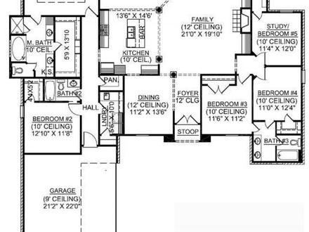 1.5 Story Floor Plans 1 Story 5 Bedroom House Plans
