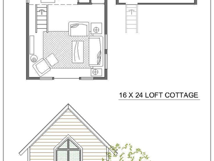 Small guest house floor plans small cabin floor plans with for Small cabin plans with loft 10 x 20