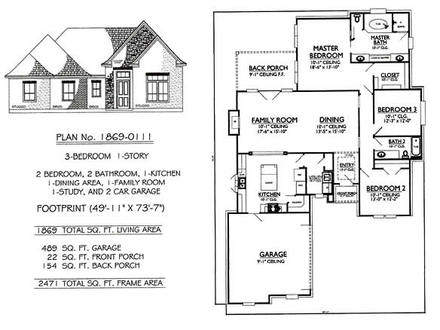 3-Bedroom Ranch House Plans 3 Bedroom House Plan with Garage