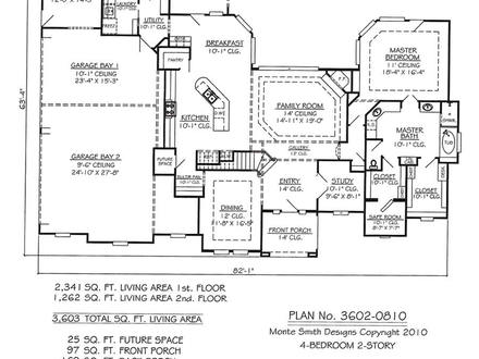 One story house plans with open floor plans one story for Simple 4 bedroom house plans